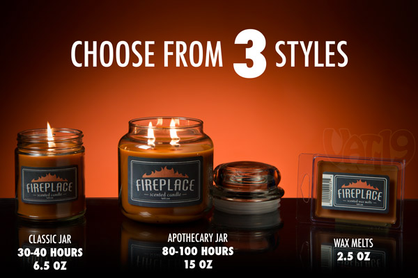 Fireplace Scented Candles are available in three sizes.