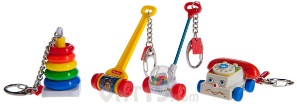 The Fisher Price Keychains are available in the following styles: Rock-a-Stack, Melody Push Chime, Corn Popper, and Chatter Phone.