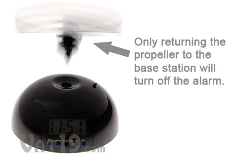 Flying Alarm Clock won't turn off unless the propeller is returned to the base station.