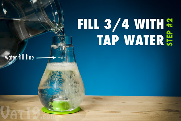 Complete the process by adding water and then swirling the mixture.