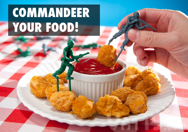 Food Fighter Appetizer Picks are retro style plastic army men designed for appetizers.