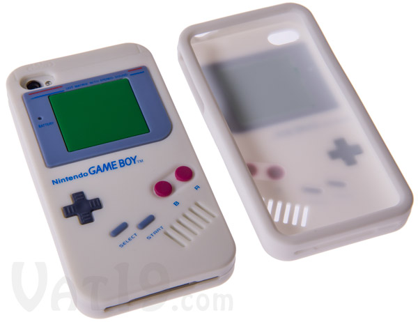 Front and back views of the GameBoy iPhone 4/4S case.