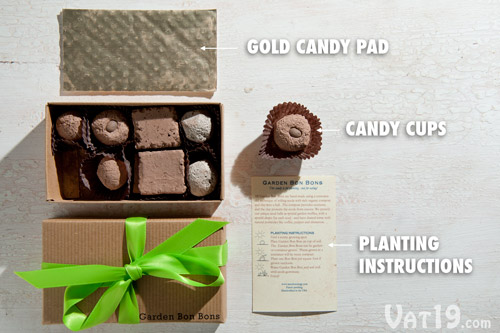 Garden Bon Bons are nicely packaged in a brown box with green ribbon, candy cups, and a gold candy pad. Planting instructions are also included.