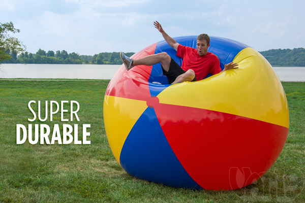 The Gigantic Beach Ball is made from thick and durable plastic.