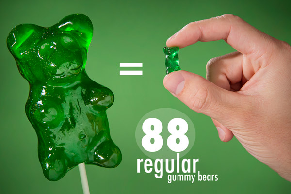 Giant Gummy Bear is 88 times larger than a standard gummy bear