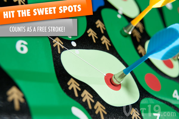 Gain a scoring advantage by hitting the red sweet spots throughout the course on the golf dart board.