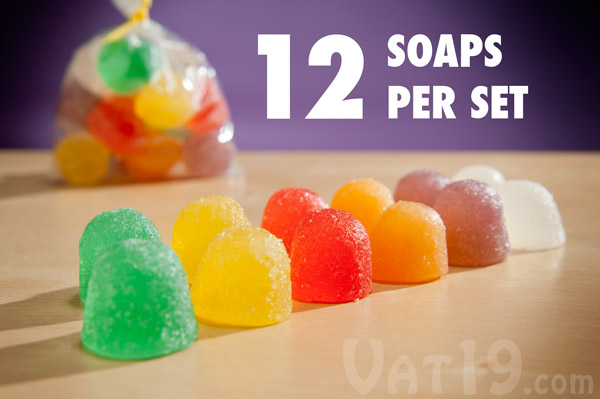 Each set of Goodie Gumdrops Soap includes 12 candy soaps.