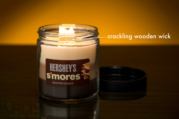 Hershey's S'Mores Scented Candle with Wooden Crackling Wick