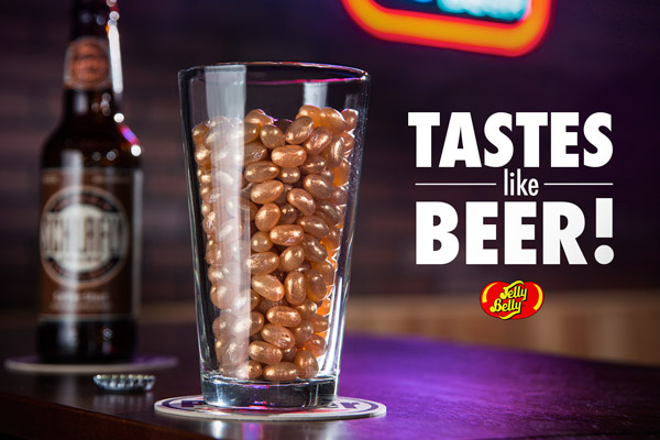 Beer pint glass filled with Jelly Belly Beer-Flavored Jelly Beans.