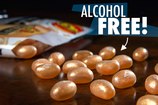A handful of beer-flavored Jelly Belly jelly beans on a table.
