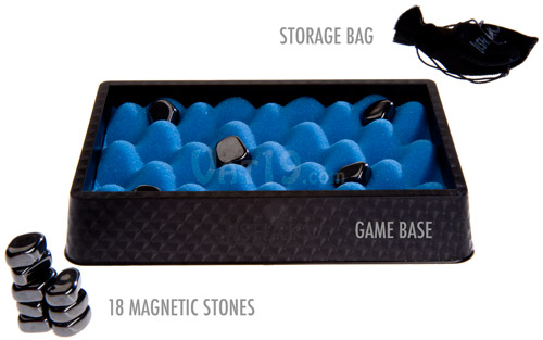 The Jishaku game comes with a storage bag, game base, and 18 magnetic stones.