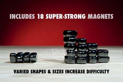 The Jishaku game includes 18 super-strong magnetic stones.