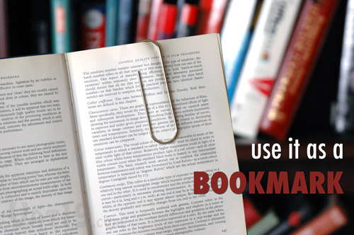 Giant paper clip can be used as a bookmark