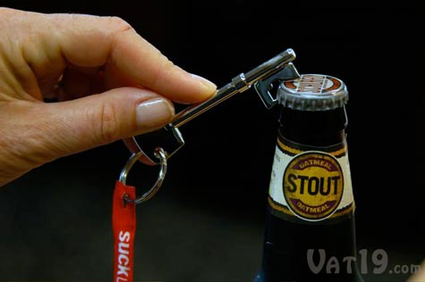 The Skeleton Key Bottle Opener hangs from your keychain so its always at the read to open your beer.