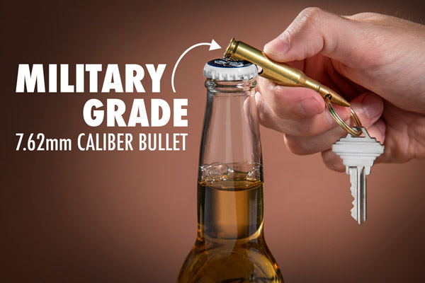 Keychain Bullet Bottle Opener opening a beer.