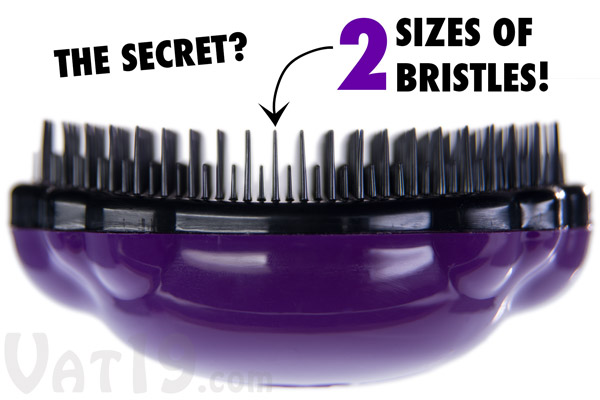 The secret to the Knot Genie is its two sizes of bristles, the design of the bristles, and their flexiblity.