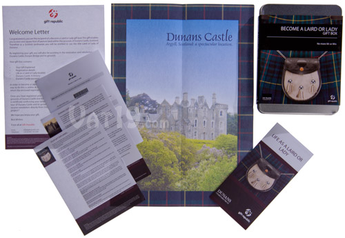 Contents of the Become a Laird or Lady Gift Box allow you to become a Scottish Laird.