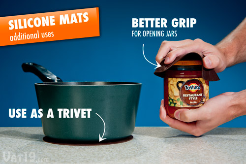 Use the removable silicone mats as a trivet or for better grip when opening tight jars.