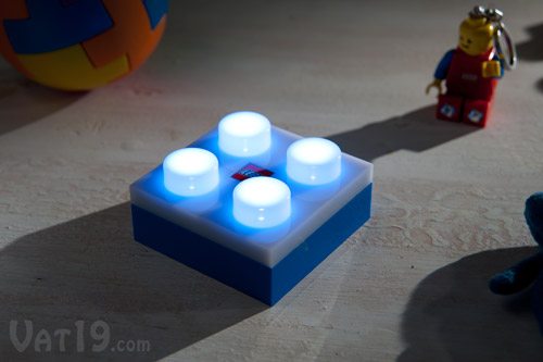 The LEGO® LED Brick Light has four illuminated
