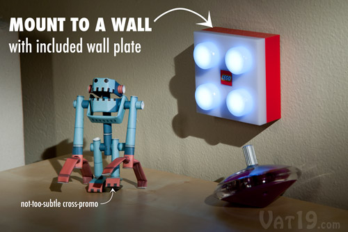The LEGO® LED Brick Light mounts easily to walls with the included wall plate.