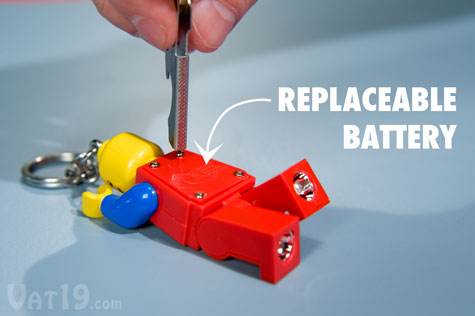 If the battery dies, simply unscrew the battery compartment to change.