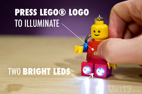 The Official LEGO® Keychain Flashlight features two bright LEDs in the LEGO® man's feet.