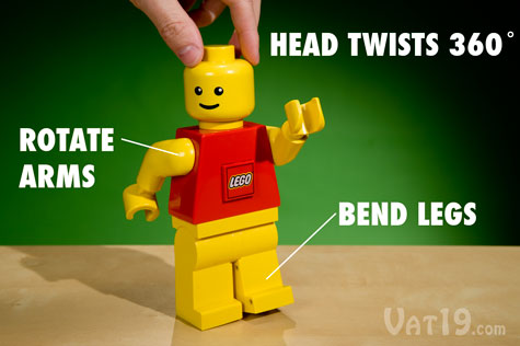 The nearly eight-inch-tall LEGO LED Torch Flashlight features a twisting head and movable arms and legs.