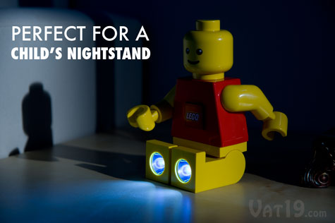 LEGO® brand LED Torch Flashlight on a nightstand.