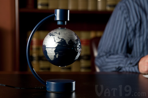 Add a magnetic floating globe to your desktop.