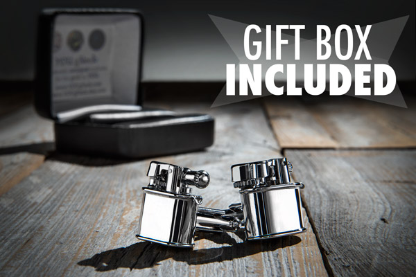 Chrome Cufflink Lighters come in an attractive gift box.