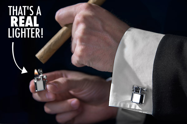Man lighting a cigar with this Cufflink Lighters.