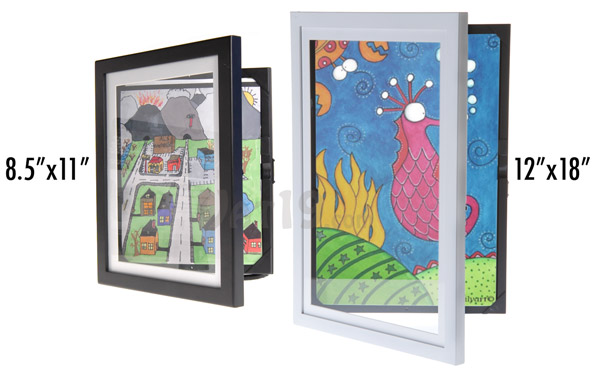 Li'l DaVinci art cabinet picture frame sizes and colors.