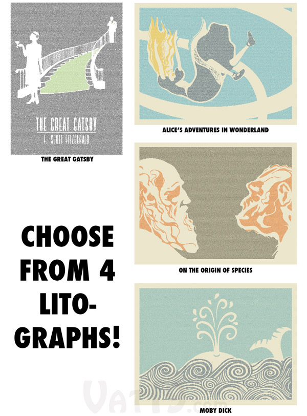 Litographs are available in a variety of famous works.