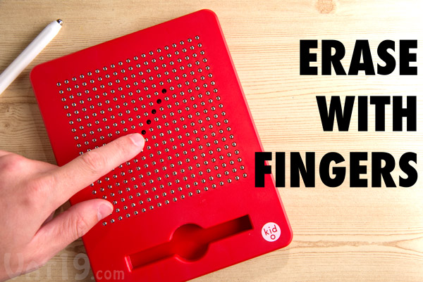 Erase portions of your drawing by pushing the beads back into the board with your finger.