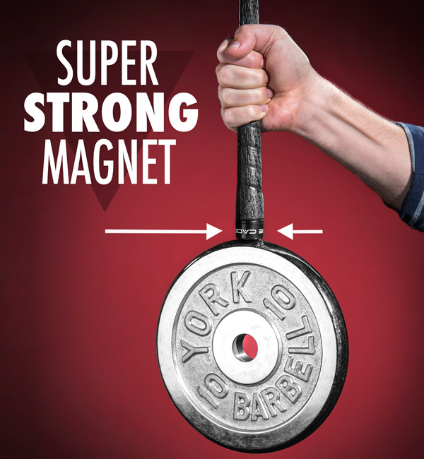 The Magnecaddy utilizes a super-strong magnet.