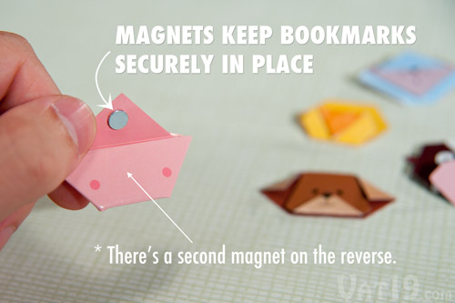 A set of two magnets per bookmark help secure it to your page.