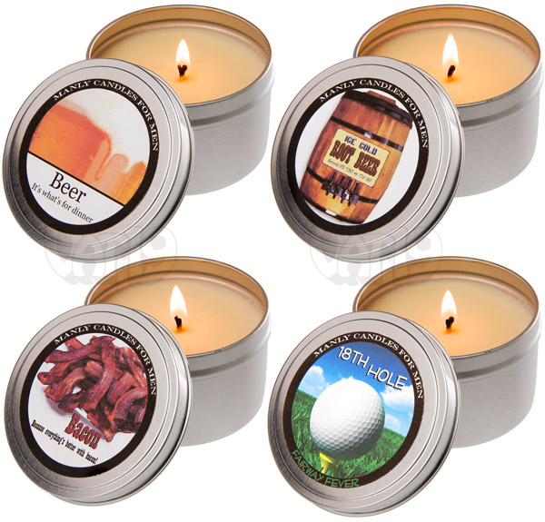 Man Candles are available in a variety of terrifc scents.