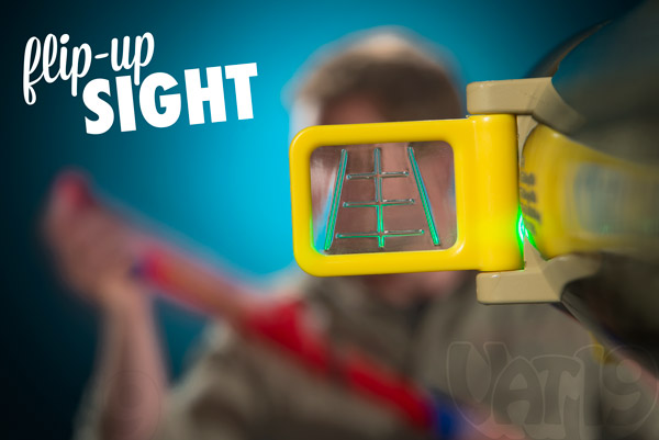 The Mazooka Marshmallow Shooter features a flip-out light-up site for accurate shooting.