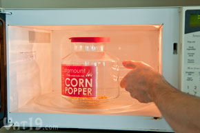 Place the Microwave Popcorn Popper into the microwave for two and a half minutes.