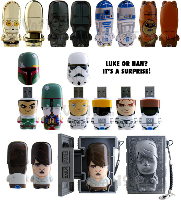 C-3P0, Darth Vader, R2D2, Wicket, Storm Trooper, Hans Solo, Boba Fett Star Wars USB Flash Drives