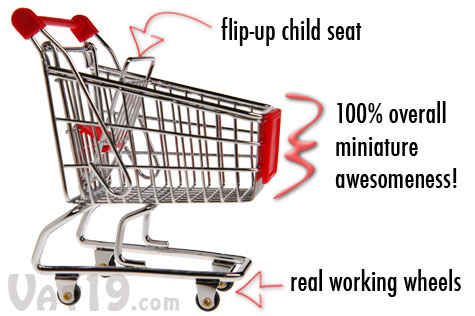 The Miniature Shopping Cart features a flip-up child seat and real working wheels.