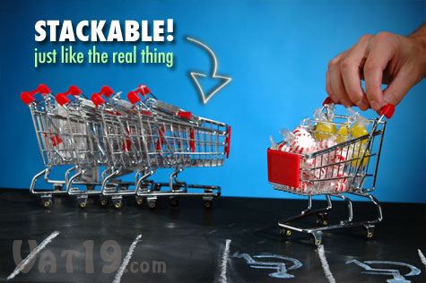 Our Mini Shopping Carts are stackable just like real shopping carts!