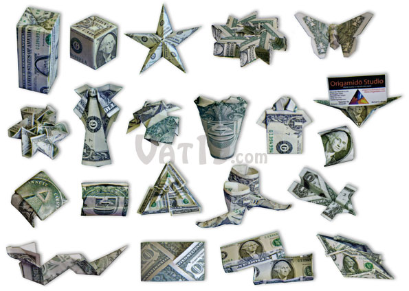 The 21 projects in the Money Origami Set range from simple to challenging.