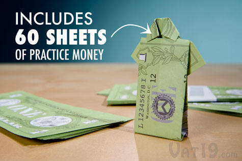 The Money Origami Set includes 60 fake dollar bills so you can practice your money folding techniques before using the real thing.
