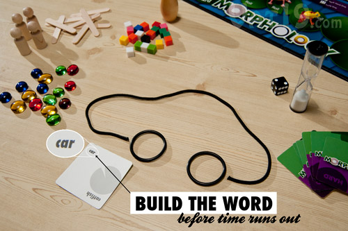 The Morphology Board Game asks you to build words using the included building materials.