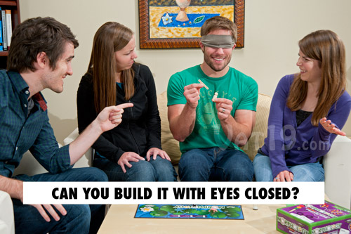 As the game progresses, challenges such as building the word with your eyes closed create new levels of hilarity.