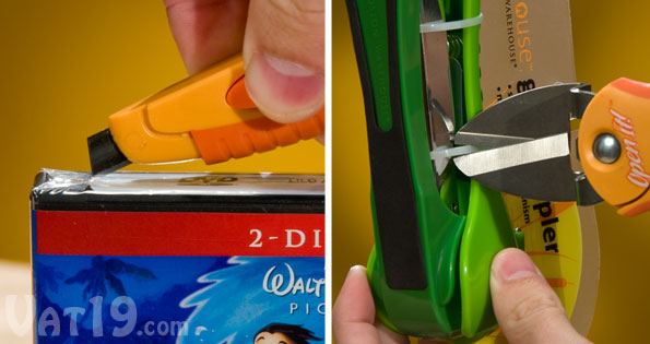 The OpenIt! Plastic Package Opener features a box knife for opening CDs, DVDs, and boxes. It also easily cuts through zip and cable ties.