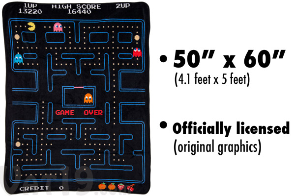 Officially licensed Pac-Man Blanket measures 60 by 50 inches.