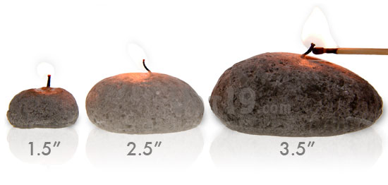 Pebble Candles are available in three sizes: small, medium and large.