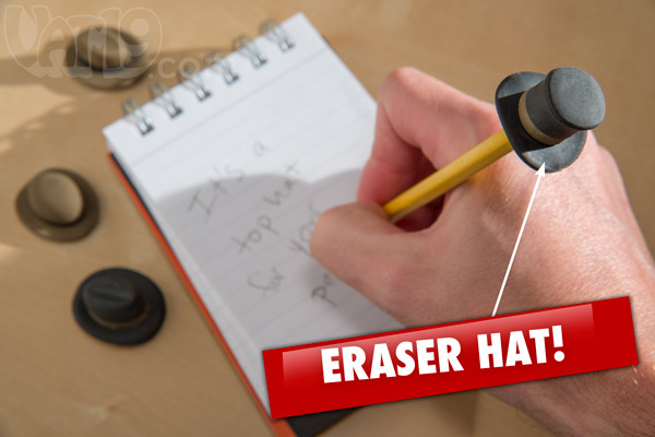 Pencil Eraser Top Hat fits any standard size pencil.